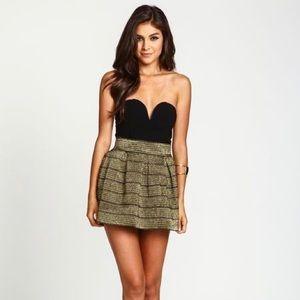 Dresses & Skirts - Black and Gold Bandage Flare Skirt